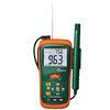 """<FONT size=1> <b>Humedad:</b> 10 a 95%RH <br> <b>Temperatura Infrarrojo:</b> -50 a 500ºC <br> <b>Temperatura Aire:</b>-20 a 60 <br> <b>Punto de Rocio:</b> No aplica <br> <b>Bulbo Húmedo:</b> No aplica <br> <b>Funciones:</b> Sonda para medir temperatura del aire, puntero láser para medir temperatura de superficies. <br> <b>Escalas:</b>Humedad, Temperatura. <br> <b>Dimensión:</b> 8x5x4"""" <br> <b>Color:</b> Naranja/verde <br> <b>Aplicaciones:</b> Departamentos de Mantenimiento, Industrias, Fábricas, Máquinas, Residencias, Escuelas, Hospitales, Comercios, Edificios, Laboratorios, Bodegas, etc.<br> <b>Batería:</b> 1 x 9V <br> <b>Garantía:</b> 1 año. <br> </FONT>"""
