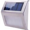 <FONT size=1> <b>Color de la Luz: </b> Blanco Frío y Blanco Cálido <br> <b>Watts: </b> 0.12 <br> <b>Celda Solar: </b> Si <br> <b>Fuente de Luz: </b> Bombillas LEd <br> <b>Tensión: </b> 6V <br> <b>Nivel de Protección: </b> IP44 <br> <b>Cantidad de Led: </b> 2 <br> <b>Lúmenes: </b> 10~12 <br> <b>Material: </b> Acero Inoxidable + ABS + PC <br> <b>Batería: </b> Con  <br> <b>Batería Tipo: </b> Ni-MH, Niquel-Metal  <br> <b>Batería Carga: </b> 1.2 V/600 mA <br> <b>Tiempo de carga: </b> 6Hrs <br> <b>Tiempo de trabajo: </b> 7 a 9Hrs <br> <b>Ángulo de inducción: </b> N/A <br> <b>Tipo de Sensor: </b> Foto Celda <br> <b>Distancia de detección: </b> N/A <br> <b>Color: </b> Natural <br> <b>Aplicaciones: </b> Adecuado para escaleras, jardines, patios, paredes, camino de entrada, entre otros <br> <b>Garantía: </b> 1 año <br> </FONT>