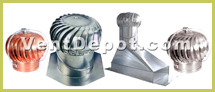 "Turbine and Rotary Vents are used for Industrial Buildings, Warehouses, Shops, Homes, and all occasion general ventilation.  The Turbine and Rotary Vents come in Aluminum, Galvanized Steel, Copper, and Stainless Steel. They range from 4"" diameters to 24"" diameters.  We include a 50 year warranty Turbine Vent, TurboVent, which sells internationally in 20FT and 40FT containers."